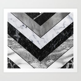 Shimmering mirage - grey marble chevron Art Print