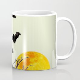 GOTHIC HALLOWEEN FULL MOON BLACK FLYING BATS DESIGN Coffee Mug
