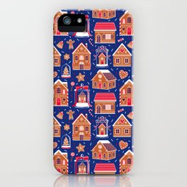 Gingerbread Houses and Sweets Candies - Blue iPhone Case