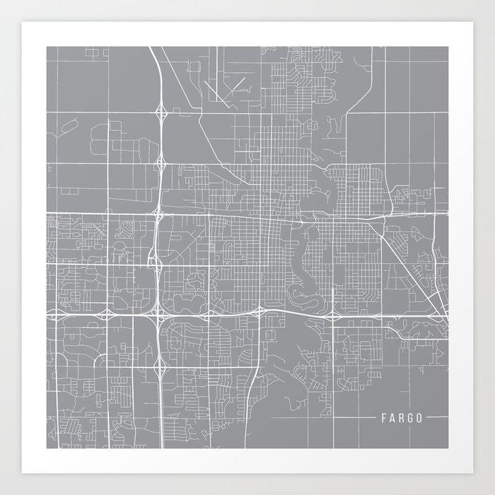 Fargo Map, North Dakota USA - Pewter Art Print by mainstreetmapscolor