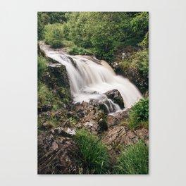 Waterfall and fresh summer foliage. Near Ullswater, Cumbria, UK Canvas Print