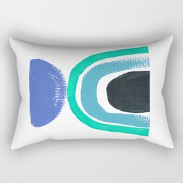 Blue and turquoise abstract shapes with rainbow Rectangular Pillow