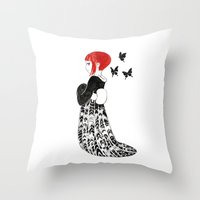 moth Throw Pillows featuring Moth by Freeminds