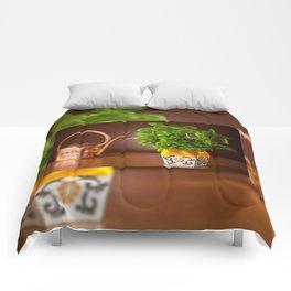 Ocimum basil plant in decorative flowerpot Comforters
