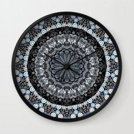 Dark Blue Grey Mandala Design Wall Clock