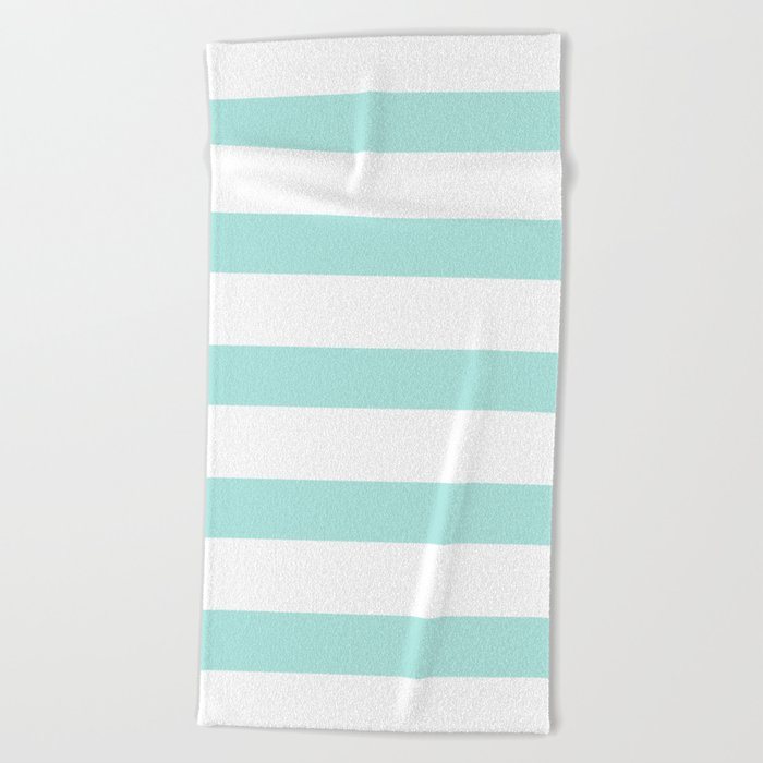Aqua blue and White stripes lines - horizontal Beach Towel