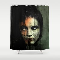 returns Shower Curtains featuring The Widow Returns by Luis C. Araujo