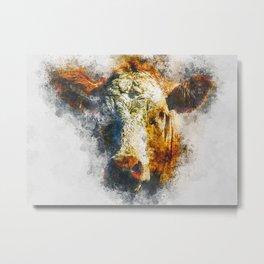Watercolor Cow Head Metal Print