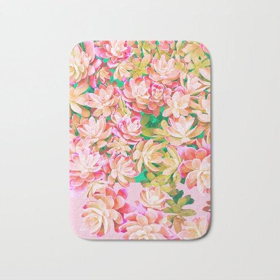 Cactus Fall - Pink and Green Bath Mat