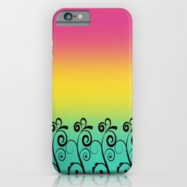 Ombre  Misty Rainbow Black Swirl Pattern - Pink, Yellow & Turquoise iPhone Case