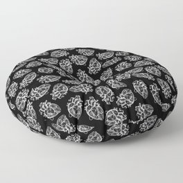 Hearts - White on Black Floor Pillow