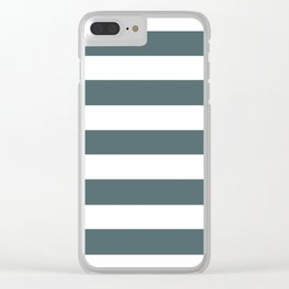 Stormcloud -  solid color - white stripes pattern Clear iPhone Case