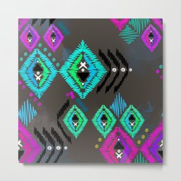 Abstract ethnic tribal pattern on a brown background. Metal Print