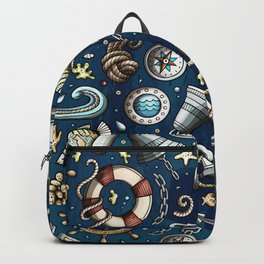 Nautical Cartoon Patterns For Ocean Lovers Backpack