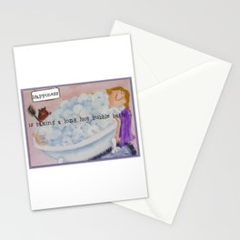 Happiness is taking a long hot bubble bath. Stationery Cards
