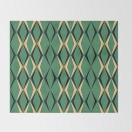 Art Deco Green & Gold Throw Blanket