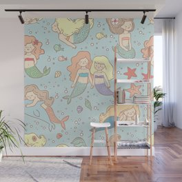 Cute Vintage Style Bff Mermaids Seamless Pattern, Blue Wall Mural