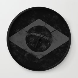 Black Brazil Flag Wall Clock