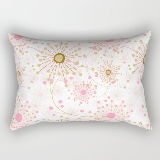 Retro . Abstract pattern Dandelions . Rectangular Pillow