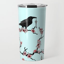 Ravens on cherry tree Travel Mug