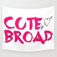 font Wall Tapestries featuring Cute Broad (Pink Font - Women's) by Kerosene Bill