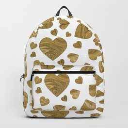 Abstract gold marble romantic valentines hearts Backpack