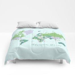 Adventure awaits world map green and purple Comforters
