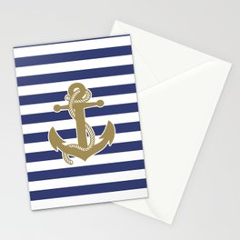 Sailor Stripes and Anchor Pattern Blue and Gold 21 Stationery Cards