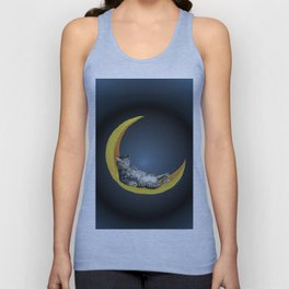 Cat and Moon Unisex Tank Top
