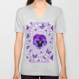 PURPLE BUTTERFLIES & PANSIES GEOMETRIC WHITE PATTERN Unisex V-Neck