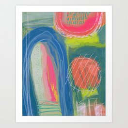 Shapes and Layers no.27 - Abstract Painting gouache and pastels Art Print
