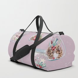 Christmas Pattern Pink Duffle Bag