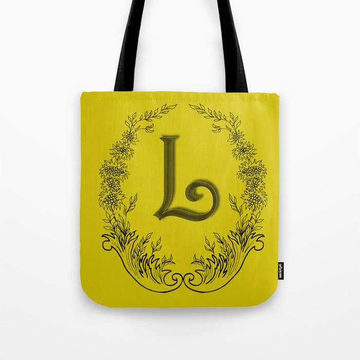 the letter L in a leaves and flowers Tote Bag