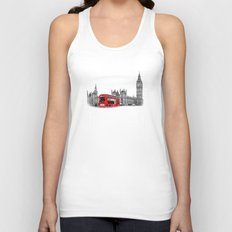 Black and White London with Red Bus Unisex Tank Top