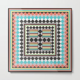 Tribal Patch Work Quilt Metal Print