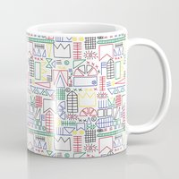 basquiat Mugs featuring Basquiat & Volpi inspired pattern  by alicemnf