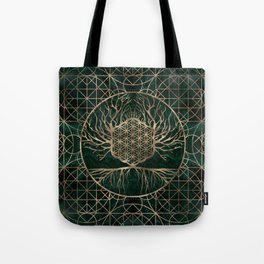 Flower of Life in Tree of life Malachite and Gold Tote Bag