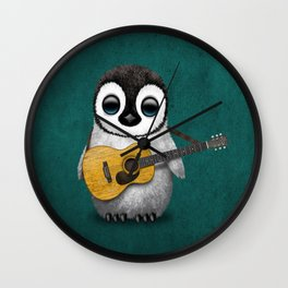 Musical Baby Penguin Playing Acoustic Guitar on Teal Blue Wall Clock
