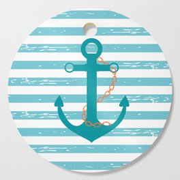 AFE Nautical Teal Ship Anchor Cutting Board