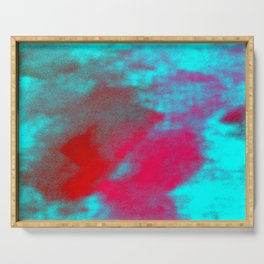 Abstract magenta red blue Serving Tray