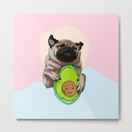 Pug and Avocado Metal Print