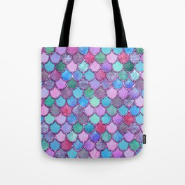 Colorful Pink Glitter Mermaid Scales Tote Bag