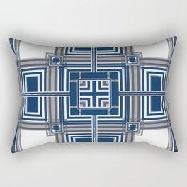 Grey Blue Squares Rectangular Pillow
