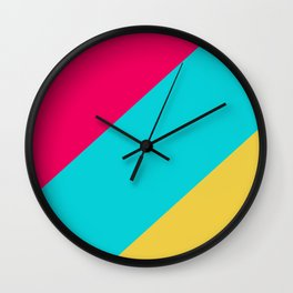 Neon Pastel Stripes Wall Clock