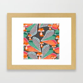 Summer fun with foxes and leaves Framed Art Print