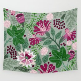 Magenta flowers on grey Wall Tapestry