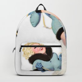 Nostalgic Pin Up Girls Blonde Riding a Polar Bear Bachelor Party Pinup Girl Backpack