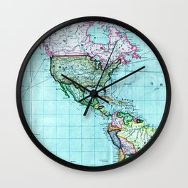Turquoise Map Pattern Wall Clock