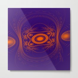 Steampunk fractal art Metal Print