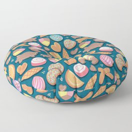 Mexican Sweet Bakery Frenzy // turquoise background // pastel colors pan dulce Floor Pillow